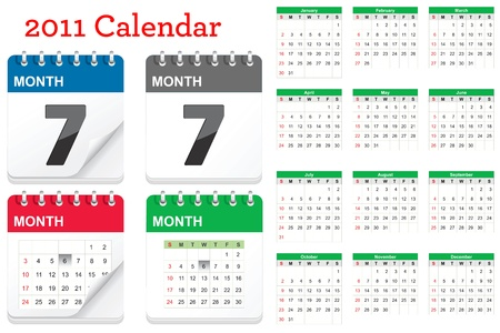 Calendar Icon Set Stock Vector - 9295621