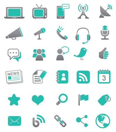 Media en mededeling iconen Stock Illustratie