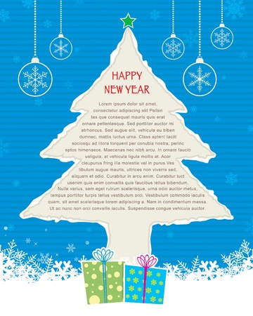 Ripped Christmas Tree | Blue Vector