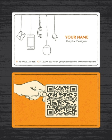 business card in hand: Sketchy Business Card Illustration