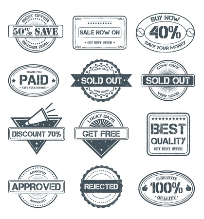 Rubber Stamp Style Badges Vector