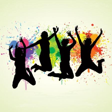 Jumping Mensen Vector Illustratie