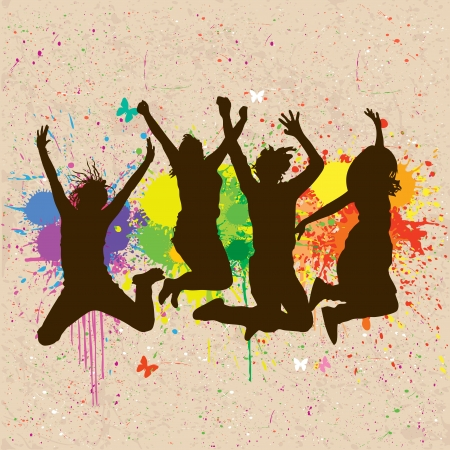 alegria: Gente saltando Vectores