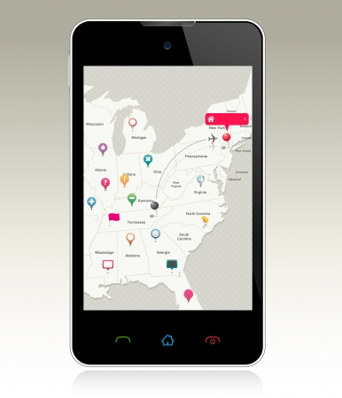 Navigation Pins on Smart Phone Vector