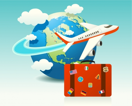 Airplane Travel with Luggage  イラスト・ベクター素材