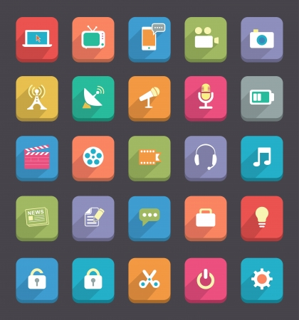 Flat Media   Communication icons Vector