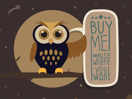 Owl with a message board Иллюстрация