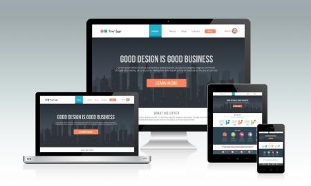 Responsive modèle de site Web avec de multiples appareils Banque d'images - 23089539