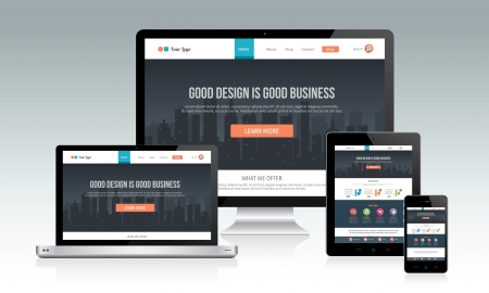 Responsive website template with multiple devices Vector