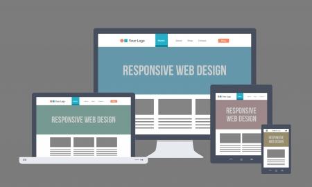 ger�te: Wohnung Responsive Web Design Illustration