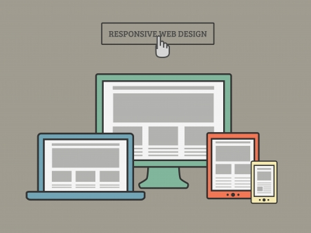 computer screen: Responsive Web Design Illustration