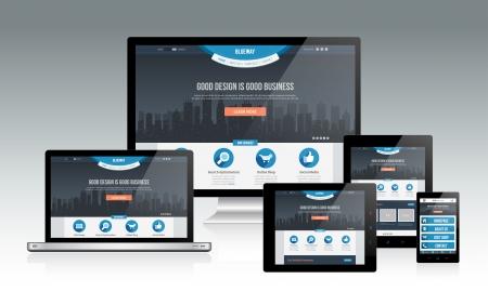 レスポンシブ Web デザインのモックアップ  イラスト・ベクター素材