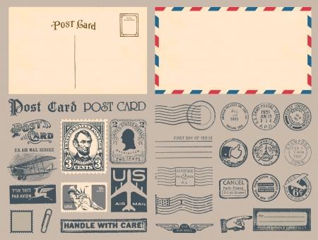 postage: Postage Stamps Illustration