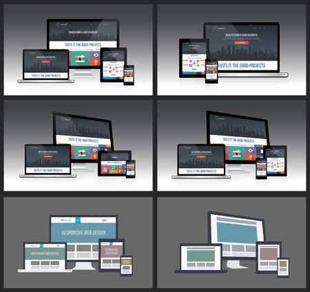 Responsive Screen Mockups Stock Vector - 27901701