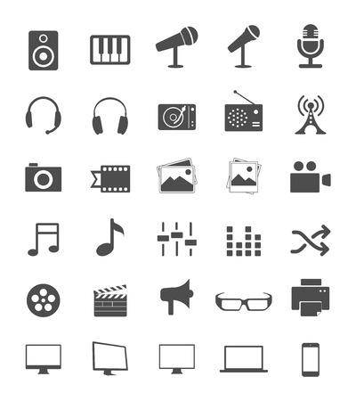 film industry: Media Icons Illustration