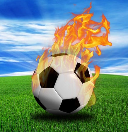 Soccer ball in fire isolated on black background. 3d rendering.