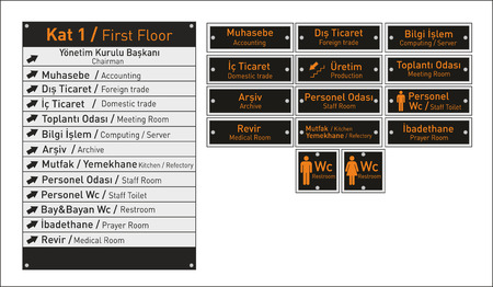 vector interior signage concept.