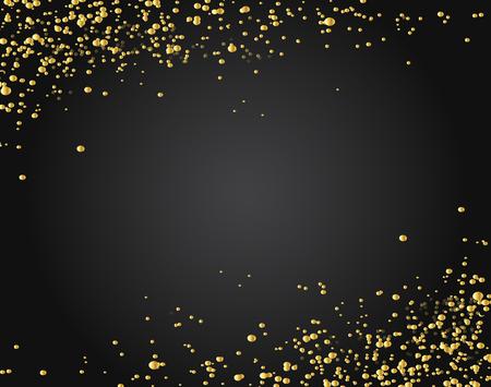 Frame of golden glitter sparkle particles on stars background. 向量圖像