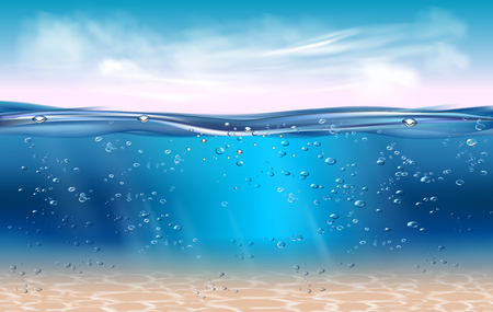 Realistic underwater background. Ocean sunrise background. Water surface 3D vector concept Banco de Imagens