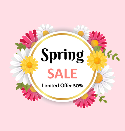 Spring flowers background. 3D vector illustration concept. Stock Vector - 121179521