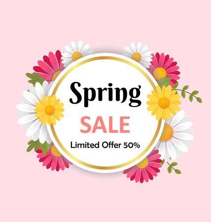 Spring flowers background. 3D vector illustration concept.
