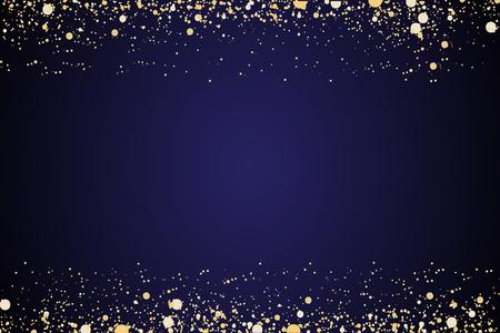 Frame of golden glitter sparkle particles on stars background. Illustration