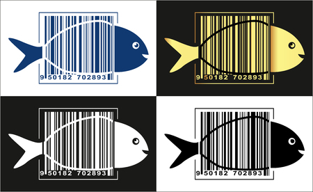 Fish logo, fish in barcode over its body. Vector illustration.