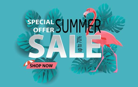 Summer sale banner with flamingo and tropical leaves background, exotic floral design for poster, banner vector illustration and design for poster card. Paper cut style, vector illustration Stock Photo