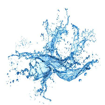 Salpicaduras de agua sobre fondo blanco con ondulación y reflexión. Foto de archivo
