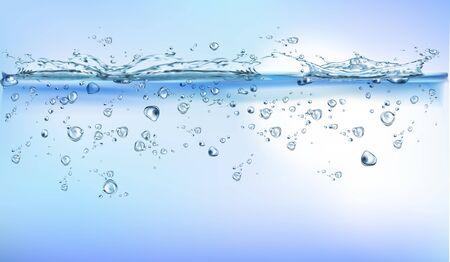 transparent water splash effect vector backgroung. Realistic vector illustration.