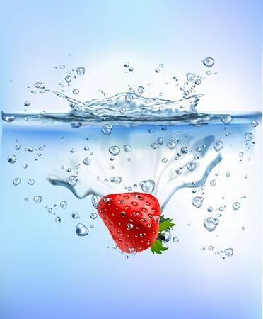 fresh vegetables splashing into clear water splashing healthy food diet freshness concept isolated on white background. Realistic Vector Illustration.
