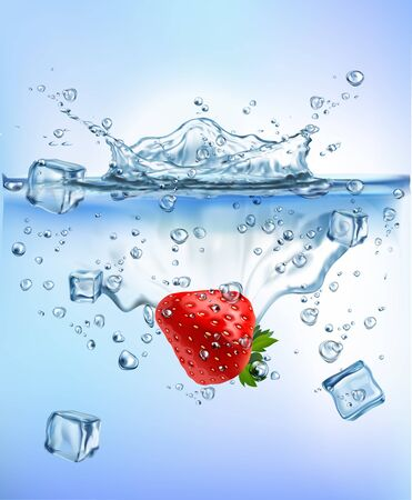 fresh vegetables splashing ice into clear water splash healthy food diet freshness concept isolated on white background. Realistic Vector Illustration.
