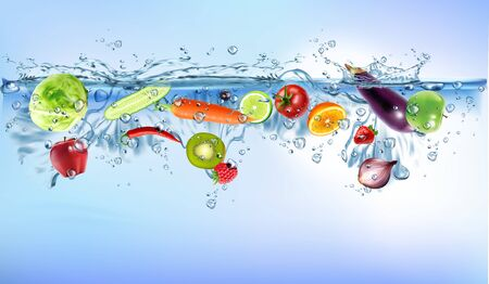 fresh vegetables splashing into clear water splashing healthy food diet freshness concept isolated on white background. Realistic illustration. Stock Photo