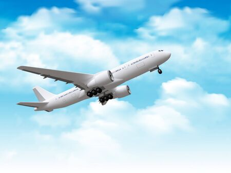 passenger airplane rising in the sky. 3d rendering. Stock Photo