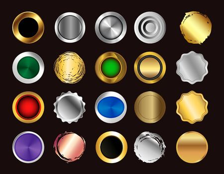 buttons set vector icons collection.