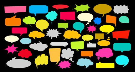 icon of white paper talking balloon. Speech bubble, vector Illustration and graphic elements.
