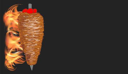 Doner kebab cooking and ingredients for kebab, Arabic cuisine frame. Fast food menu design elements. Shawarma hand drawn frame. Middle eastern food. Turkish food. illustration - Vector.