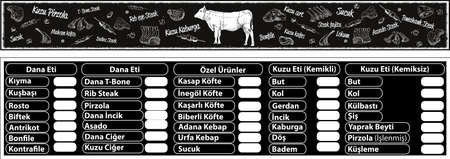 Turkish vintage signage models, beef butcher shop, blackboard cut beef, barbecue, drumsticks, chops, tenderloin - translation: vintage turkey beef butcher butcher shop, blackboard cuts of beef.