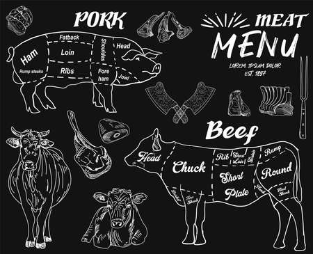 Steak menu for restaurant and cafe. Food flyer. Design layout with vintage lettering and doodle hand-drawn graphic icons. Vector.