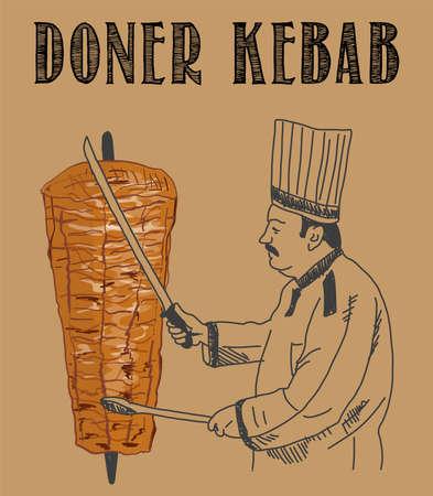 Doner kebab cooking and ingredients for kebab, Arabic cuisine frame. Fast food menu design elements. Shawarma hand drawn frame. Middle eastern food. Turkish food. illustration - Vector. Vector Illustration