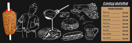 Doner kebab cooking and ingredients for kebab, Arabic cuisine frame. Fast food menu design elements. Shawarma hand drawn frame. Middle eastern food. Turkish food. illustration - Vector. Ilustracje wektorowe