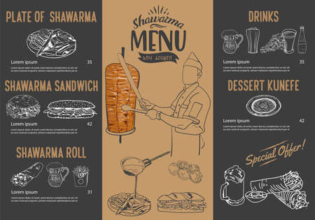 Doner kebab cooking and ingredients for kebab, Arabic cuisine frame. Fast food menu design elements. Shawarma hand drawn frame. Middle eastern food. Turkish food. illustration - Vector.