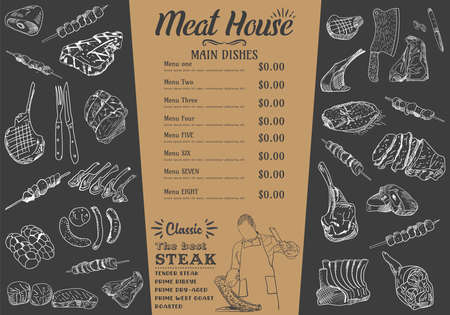 Steak menu for restaurant and cafe. Food flyer. Design layout with vintage lettering and doodle hand-drawn graphic icons. Vector. Vettoriali