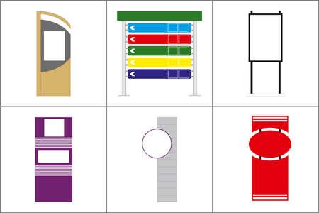Exterior and Interior Wayfinding Signage System. office exterior monument sign, pylon sign, signage, advertising construction. Vector. Ilustração Vetorial