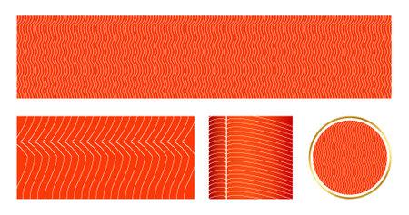 Salmon fillet texture, fish pattern. Menu Design, Fish Packaging and Sushi Restaurants. Vector.