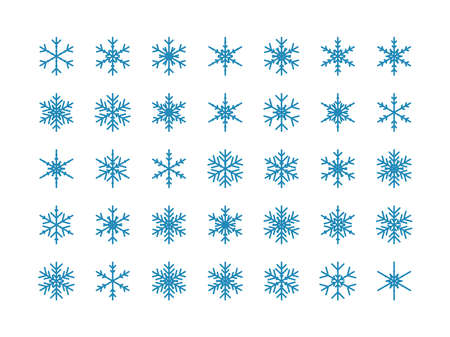 Snowflakes big set icons. Isolated Snowflake Collection. Flake crystal silhouette collection. Winter design elements. Happy new year, xmas, christmas. Snow, holiday, cold weather, frost. Vector illus