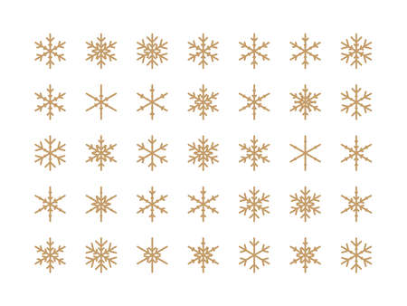 Snowflakes big set icons. Isolated Snowflake Collection. Flake crystal silhouette collection. Winter design elements. Happy new year, xmas, christmas. Snow, holiday, cold weather, frost. Vector illus Ilustração
