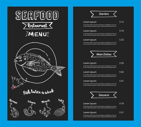 seafood restaurant menu template. Vector.