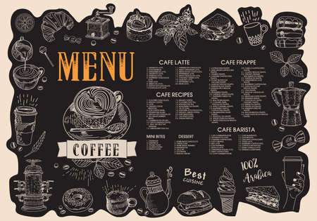 Coffee house menu. Restaurant cafe menu, template design. Food flyer. Layout with vintage lettering and frame of hand-drawn graphic sweets. Vector.