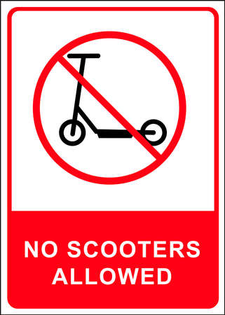 Scooter eco friendly green mobility and transport. Scooter warning label. vector.